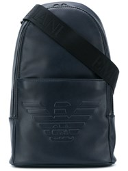 Emporio Armani Embossed Logo Backpack Blue
