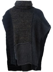 Isabel Benenato Knitted Poncho Grey
