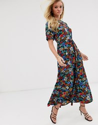 Neon Rose Maxi Tea Dress With Balloon Sleeves In Vintage Floral Black