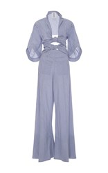 Rosie Assoulin Knotty By Nature Bow Jumpsuit Blue