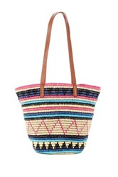 San Diego Hat Company Striped Woven Paper Tote Multi