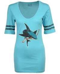 Retro Brand Women's San Jose Sharks Vintage Sleeve Stripe T Shirt Aquamarine