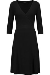 Theory Wrap Effect Ribbed Knit Dress Black