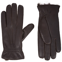 Barneys New York Fur Lined Gloves Brown