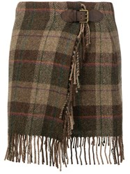 Polo Ralph Lauren Plaid Wrap Skirt Brown