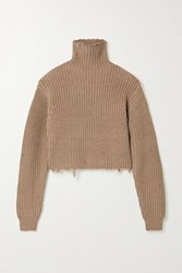 Rta Beau Distressed Ribbed Cotton Turtleneck Sweater Light Brown