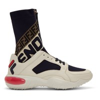 White And Navy 'Fendi Mania' Sock Sneakers