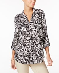 Charter Club Printed Roll Tab Blouse Only At Macy's Deep Black Combo