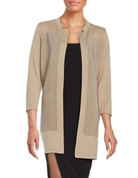 Nipon Boutique Ribbed Open Front Cardigan Latte