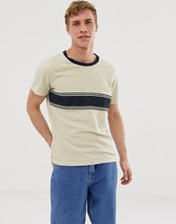 Selected Homme T Shirt With Body Stripe And Pocket Beige