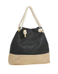 Magid Metallic Paper Straw Tote Black Gold