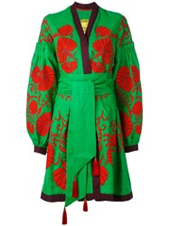 Yuliya Magdych 'Flower Shell' Dress Women Linen Flax L Green