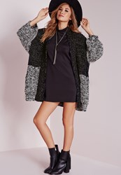 Missguided Kimono Sleeve Cardigan Multi Black