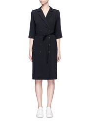Topshop Double Breasted Crepe De Chine Dress Black