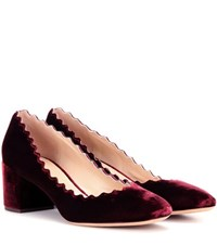 Chloe Lauren Velvet Pumps Red