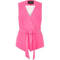 River Island Womens Bright Pink Belted Waistcoat