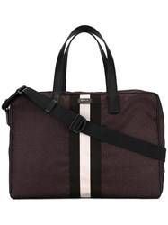 Bally Striped Holdall Red