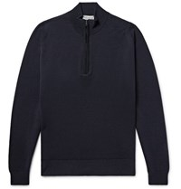 John Smedley Tapton Merino Wool Half Zip Sweater Midnight Blue