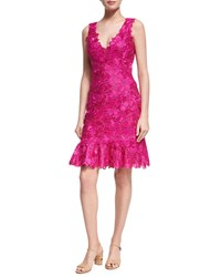 Monique Lhuillier Floral Guipure Lace Sleeveless Flounce Dress Bright Pink