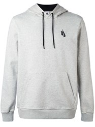 Nike Logo Hooded Sweatshirt Men Cotton Spandex Elastane M Grey