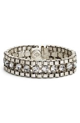 Loren Hope Women's 'Carly' Crystal And Chain Bracelet Silver Ox Crystal