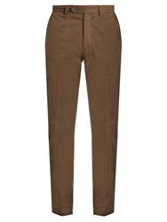 Boglioli Slim Leg Stretch Cotton Trousers Khaki