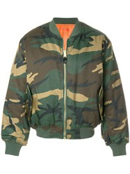 Alyx Camouflage Print Bomber Jacket Polyester Cotton Green