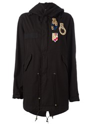 Mr And Mrs Italy Patched Mid Parka Black