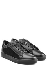 Brioni Leather Sneakers With Suede Black