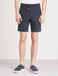 Sandro Relaxed Fit Mid Rise Stretch Cotton Shorts Marine