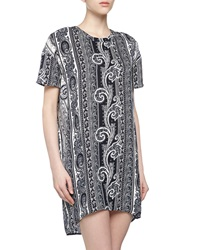 Pencey Short Sleeve Baroque Charmeuse Shift Dress Navy