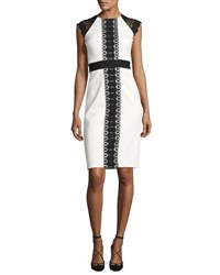 Catherine Deane Structured Jersey Lace Trim Cocktail Dress Black White Black Pattern