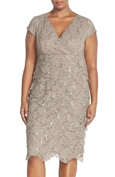 Alex Evenings Cap Sleeve Sequin Lace Tiered Sheath Dress Plus Size Stone