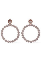 Cz By Kenneth Jay Lane Rose Gold Tone Crystal Hoop Earrings Rose Gold