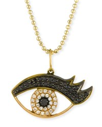 Sydney Evan 14K Gold Eyelash Eye Pendant Necklace With Diamonds Yellow Gold