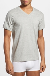 Calvin Klein Classic Fit Cotton V Neck T Shirt 3 Pack Heather Grey White Black