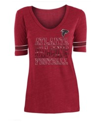 5Th And Ocean Atlanta Falcons Tri Blend Foil Sleeve Stripe T Shirt Red