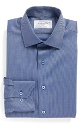 Lorenzo Uomo Men's Big And Tall Trim Fit Solid Dress Shirt Navy