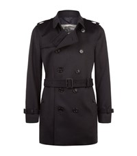 Burberry Kensington Cashmere Mid Length Trench Coat Male Navy