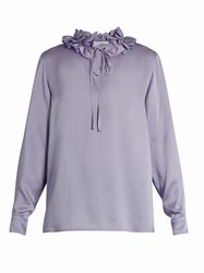 Sonia Rykiel Ruffled Neck Long Sleeved Crepe Satin Blouse Light Purple
