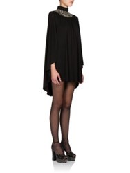 Saint Laurent Sequin Collar Cape Dress Black
