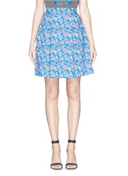 Tanya Taylor 'Florence' Micro Floral Print Cotton Skater Skirt Blue