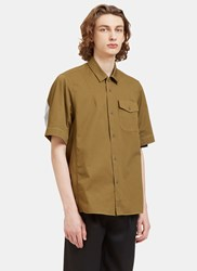 Oamc Pacific Rear Striped Panel Shirt Green