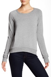Heather By Bordeaux Zip Back Fleece Pullover Gray