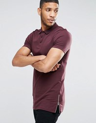 Asos Longline Muscle Polo Shirt With Zip Detail In Oxblood Oxblood Red