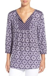 Nydj 'Patchwork Mosaic' Print Split Neck Blouse Blue