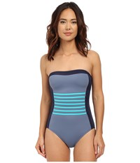 Dkny A Lister Bandeau Maillot W Stripping Detail Removable Soft Cups Currant Women's Swimsuits One Piece Red
