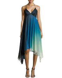 Halston Ombre High Low Cocktail Halter Dress Atltc Mlt Omb Prn