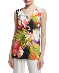 Caroline Rose Alfresco Print Jersey Layering Tank Top Women's Multi Black