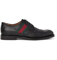 Gucci Webbing Trimmed Pebble Grain Leather Wingtip Brogues Black